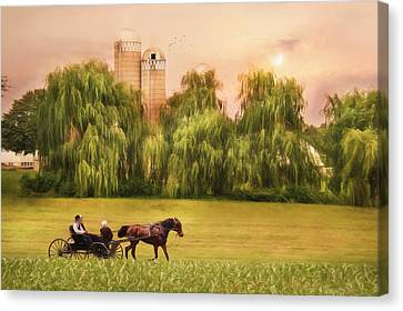 Amish Buggy Ride Canvas Print by Lori Deiter