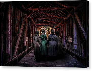Amish Country Canvas Print - Amish Girls In Covered Bridge by Tom Mc Nemar