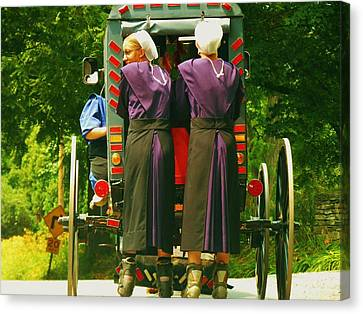 Amish Girls On Roller Blades Canvas Print