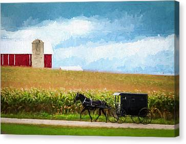 Canvas Print featuring the digital art Amish Paradise by Joel Witmeyer