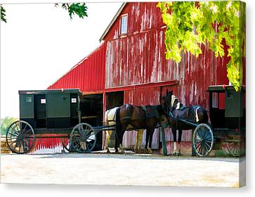 Amish Red Barn Canvas Print by Henry Fitzthum