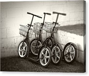 Chrystal Canvas Print - Amish Scooters In Black And White by Greg and Chrystal Mimbs