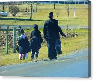 Amish Community Canvas Print - Amish Sunday 1 Of 5 by Tina M Wenger