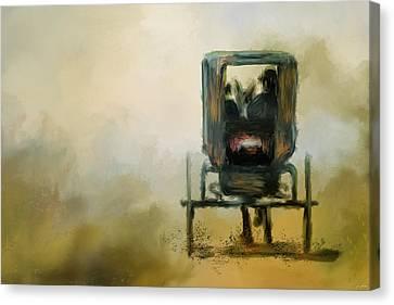 Horse And Buggy Canvas Print - Amish Wagon by Jai Johnson