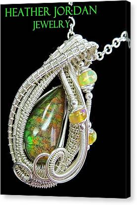 Ammolite And Sterling Silver Wire-wrapped Pendant With Ethiopian Opals Amltpss2 Canvas Print by Heather Jordan