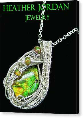 Ammolite And Sterling Silver Wire-wrapped Pendant With Ethiopian Opals Amltpss4 Canvas Print by Heather Jordan