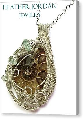 Ammonite Wire-wrapped Pendant In Sterling Silver With Aquamarine Fapss4 Canvas Print by Heather Jordan