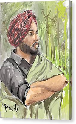 Sikh Art Canvas Print - Ammy Virk - Punjab  by Sukhpal Grewal