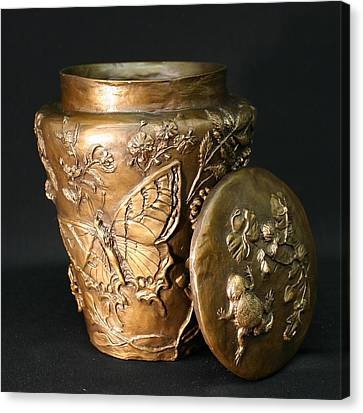 Canvas Print featuring the sculpture Among The Sagebrush Vase With Lid by Dawn Senior-Trask