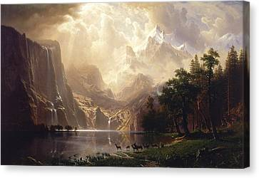 Among The Sierra Nevada Canvas Print by Albert Bierstadt