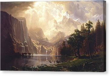 Among The Sierra Nevada, California, 1868 Canvas Print by Albert Bierstadt