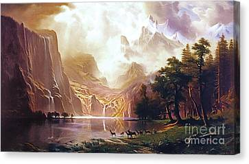 Canvas Print featuring the painting Among The Sierra Nevada California By Albert Bierstadt 20170409 by Wingsdomain Art and Photography