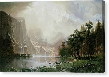 Among The Sierra Nevada Mountains California Canvas Print by Albert Bierstadt