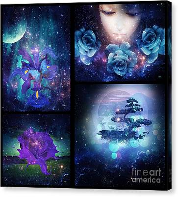 Canvas Print featuring the digital art Among The Stars Series by Mo T