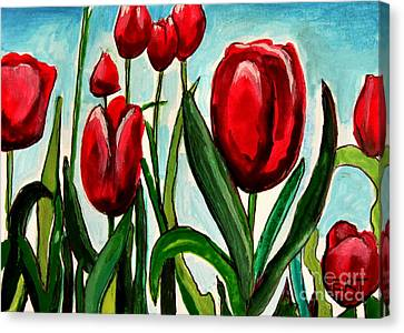 Among The Tulips Canvas Print by Elizabeth Robinette Tyndall