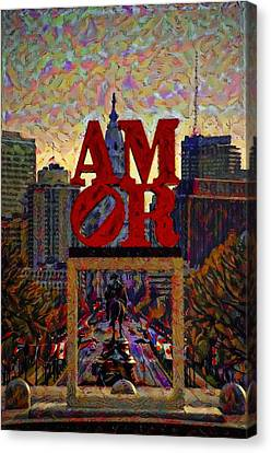 Amor In Mirror - Philadelphia Canvas Print by Bill Cannon