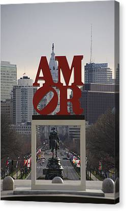 Amor - Philadelphia In Mirror Canvas Print