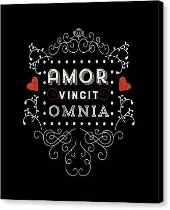 Amor Vincit Omnia Chalkboard Style Canvas Print