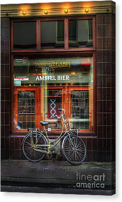 Amstel Bier Bicycle Canvas Print by Craig J Satterlee