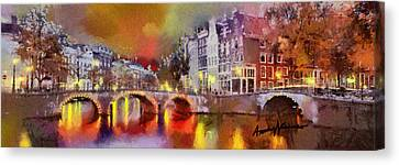 Amsterdam At Night Canvas Print by Anthony Caruso