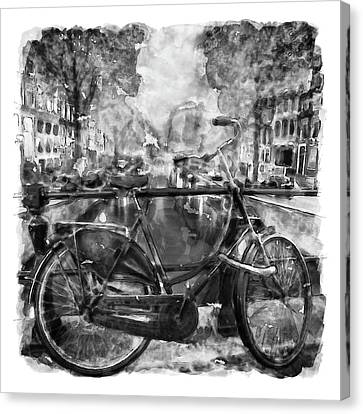 Amsterdam Bicycle Black And White Canvas Print by Marian Voicu