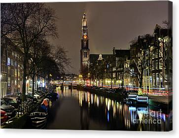 Amsterdam By Night - Prinsengracht Canvas Print