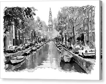 Amsterdam Canal 2 Black And White Canvas Print by Marian Voicu