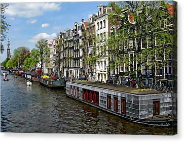 Amsterdam Canal Canvas Print by Anthony Dezenzio
