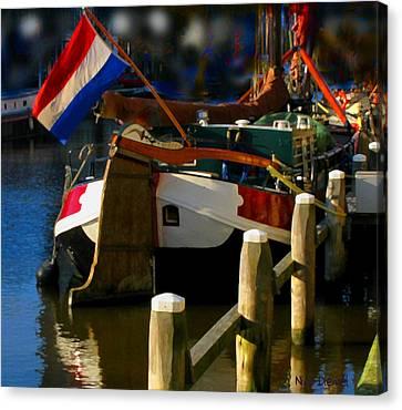 Amsterdam Canal Barge Canvas Print by Nick Diemel