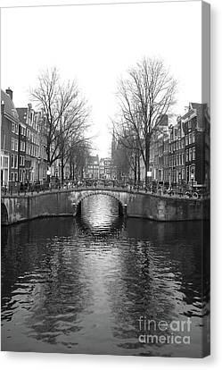 Amsterdam Canal Bridge Black And White Canvas Print