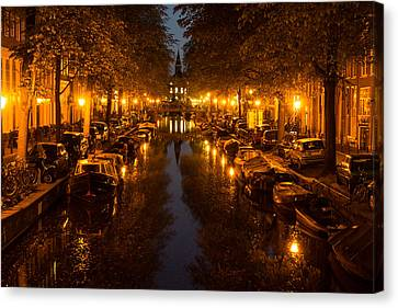 Amsterdam Canal In Golden Yellow Canvas Print