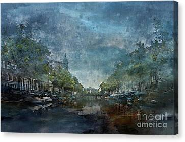 Amsterdam Canal With Houses And Boats Canvas Print by Barbara Dudzinska