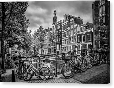 Bicycle Canvas Print - Amsterdam Flower Canal Black And White by Melanie Viola