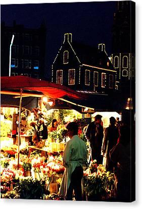 Amsterdam Flower Market Canvas Print by Nancy Mueller