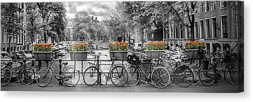 Amsterdam Gentlemen's Canal Panoramic View Canvas Print by Melanie Viola