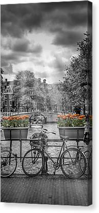 Historic House Canvas Print - Amsterdam Gentlemen's Canal Upright Panoramic View by Melanie Viola