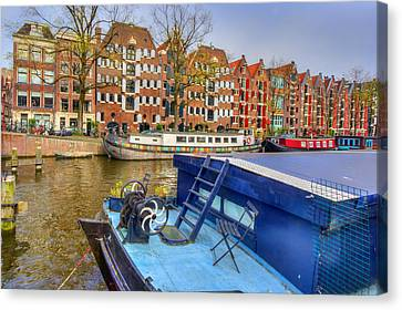 Amsterdam Houseboats Canvas Print by Nadia Sanowar