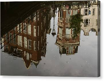 Amsterdam - Moody Canal Reflection In The Rain Canvas Print