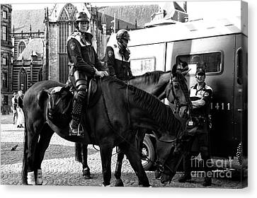 Amsterdam Mounted Police Mono Canvas Print by John Rizzuto