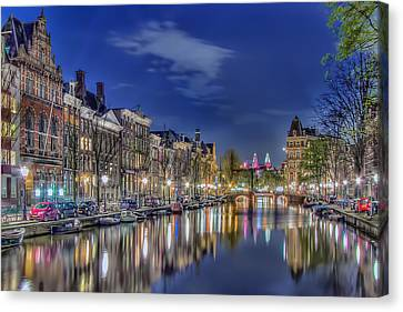 Amsterdam Reflections Canvas Print by Nadia Sanowar