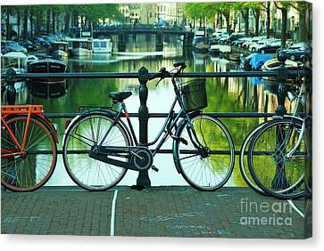 Canvas Print featuring the photograph Amsterdam Scene by Allen Beatty