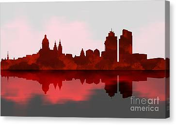 Amsterdam Skyline - Night Red Canvas Print by Prar Kulasekara