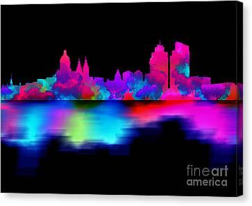 Amsterdam Skyline - Pink Blue Canvas Print