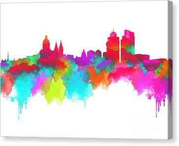 Landmarks Canvas Print - Amsterdam Skyline - Watercolour by Prar Kulasekara
