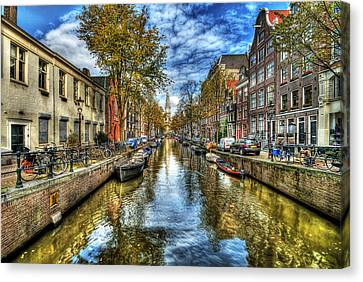 Yellow Building Canvas Print - Amsterdam by Svetlana Sewell