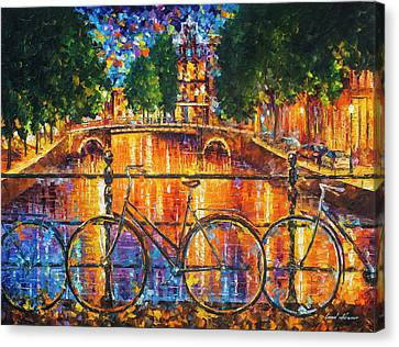 Canvas Print - Amsterdam - The Bridge Of Bicycles  by Leonid Afremov