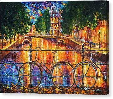 Amsterdam - The Bridge Of Bicycles  Canvas Print by Leonid Afremov