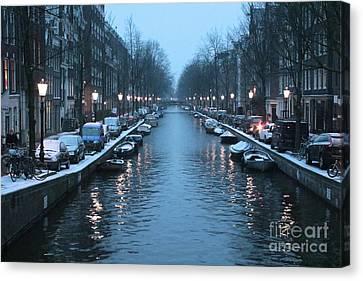 Amsterdam Winter Blues Canvas Print by Carol Groenen