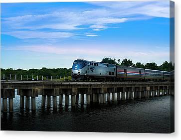 Florida Bridge Canvas Print - Amtrak 25 by Marvin Spates