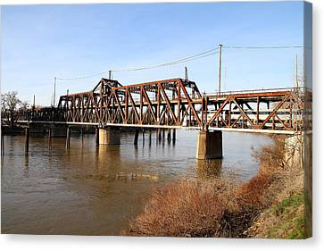 Amtrak California Crossing The Old Sacramento Southern Pacific Train Bridge . 7d11674 Canvas Print by Wingsdomain Art and Photography